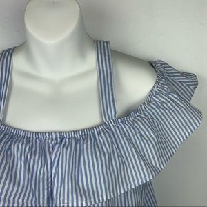 Blue & White Striped Shirt With Straps & Ruffle